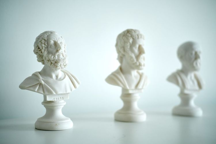 Close-up of busts, philosophers