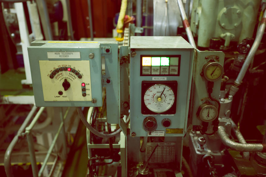 engine on cargo ship Cargo Ship Engine Compartment Clock Close-up Control Panel Day Gauge Indoors  Industry Machinery No People Pressure Gauge Technology