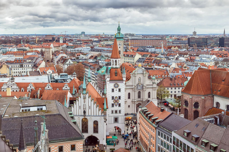 Old town hall, munich, germany. aerial view from new town hall tower