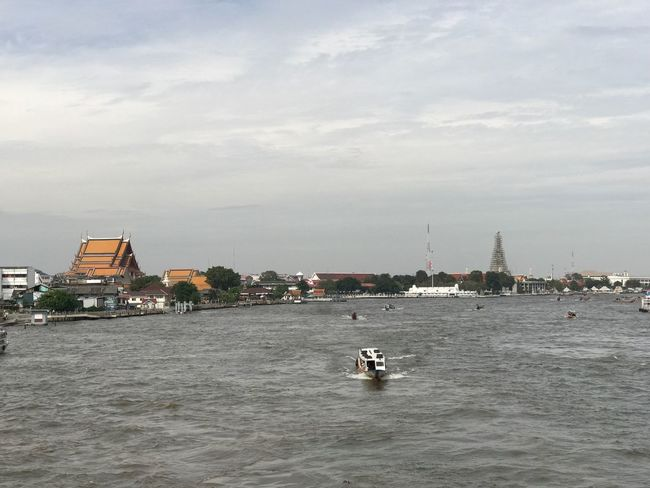 Water Architecture Building Exterior Nautical Vessel City Transportation Waterfront Sky Built Structure Sea Mode Of Transport Outdoors Day Sailing Wake - Water Sailboat Cityscape No People Nature Bangkok Thailand. River Temple Bhudha