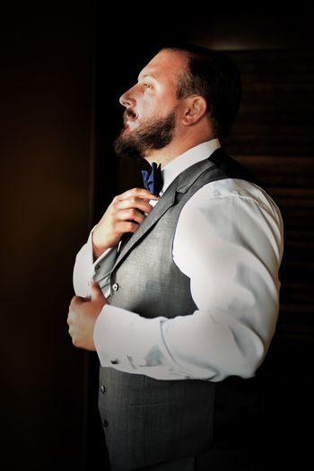Groom #CUFFED #weddingday #wedding #groom One Person Young Men Young Adult Real People Standing Side View Indoors  Beard Men Waist Up Facial Hair
