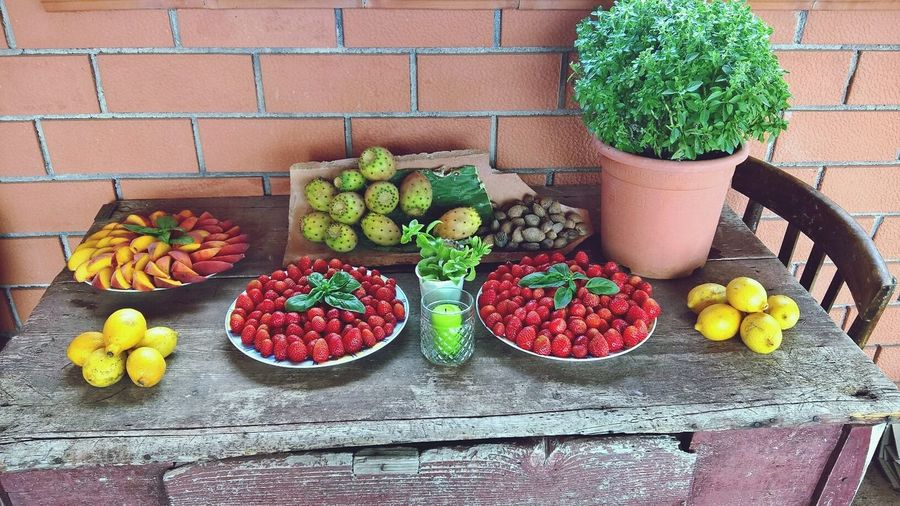 Nachtisch Desert Sicily Italy Vegetable Healthy Eating Potted Plant Variation Table Freshness High Angle View Fruit Food And Drink Food Flower Day