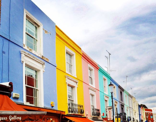 I'll forever love how colorful London is🌈 Building Exterior Architecture Built Structure Sky Window Cloud - Sky Low Angle View Outdoors Day Transportation Mode Of Transport No People City London Colorful