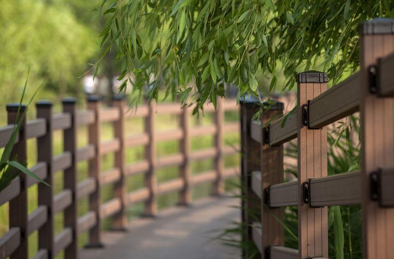 Wooden railing on footbridge