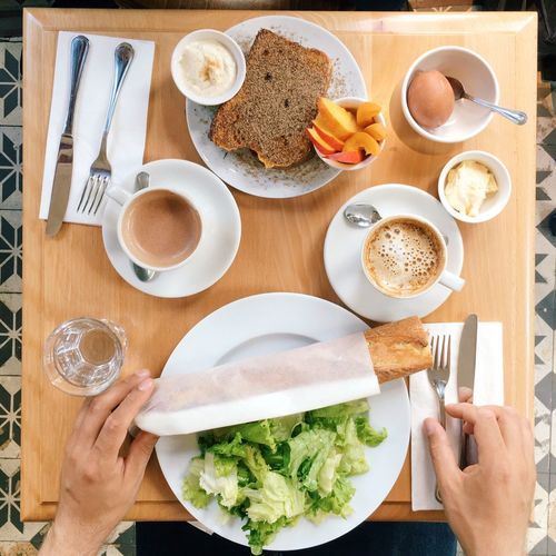 High cropped image of person having breakfast at table