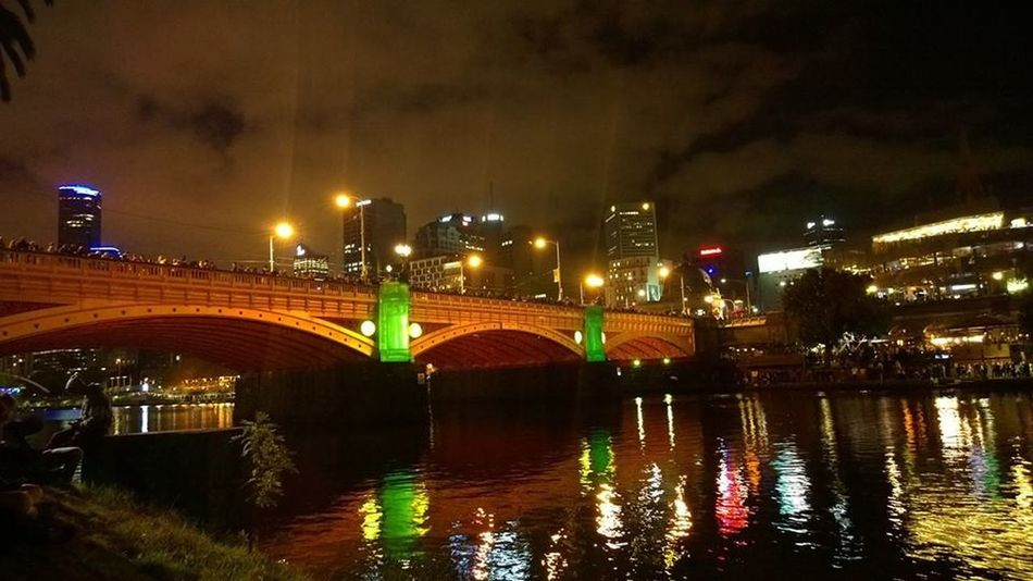 #backpack #melbourne #melbourneculture #travel Bridge Built Structure Canal City City Life Illuminated Night Reflection Travel Destinations