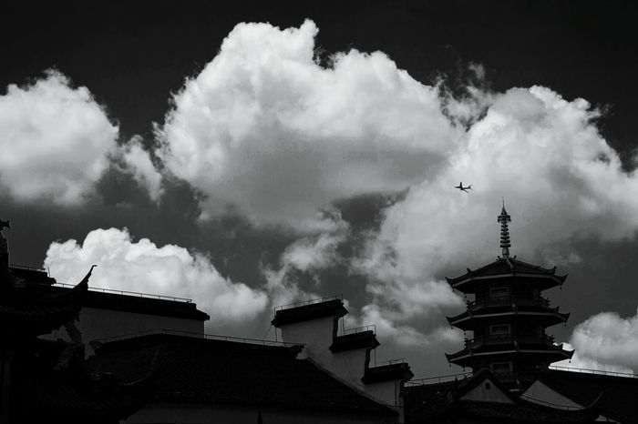 Architecture Cloud - Sky Building Exterior Sky Built Structure Travel Destinations Outdoors Silhouette Landscape Urban Skyline Lifestyles City Life EyeEm Best Shots Cityscape Day City Black & White Blackandwhite Monochrome Air Plane Streetphotography Street Relaxing No People Nature
