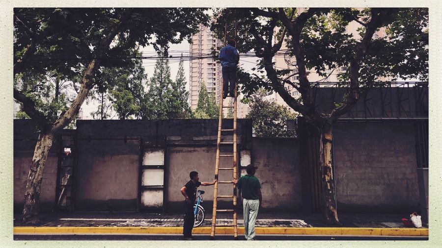 Citylife Shanghai Streetphotography Two People Real People Men Tree Auto Post Production Filter Architecture Built Structure Building Exterior Lifestyles Day Childhood Togetherness Bonding Child Plant People Nature Adult Transfer Print Casual Clothing
