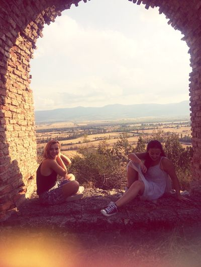 EyeEm Selects Two Women Just Having Fun Sun ☀ Mountain View Window Laughing Young Women Beautiful Day Beautiful View Trees Rocks