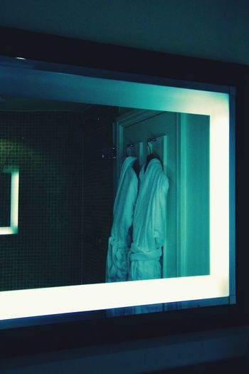 Breathing Space Indoors  Bathroom Spa Bath Time Dressing Gown Mirror Reflection Blue Unwind Relaxing Blue Color No People Focus On Background Light Light And Shadow