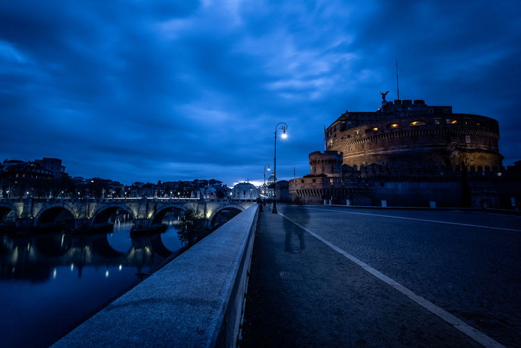 Street Light Reflection Castle Rome Italy Rome Roma Copyspace Copy Space Twilight Shadow Silhouette Streetphotography Long Exposure Outdoors Night Water Travel No People City Building Nature Transportation Illuminated The Past History Travel Destinations Dusk Cloud - Sky Sky Building Exterior Built Structure Architecture River Riverside Waterfront