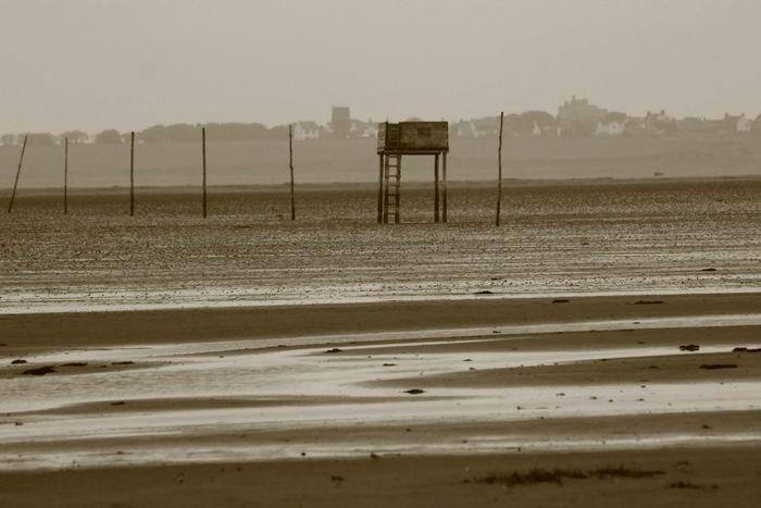 Beauty In Nature Pilgrim's Way Refuge Tower Sand Sea Tranquil Scene Water Lindisfarne Holy Island Tidal Landscapes With WhiteWall
