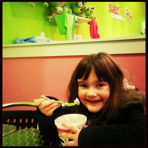 Sweet Pea at Sweet Frog! Enjoying her special birthday treat at the newest, coolest place around!!