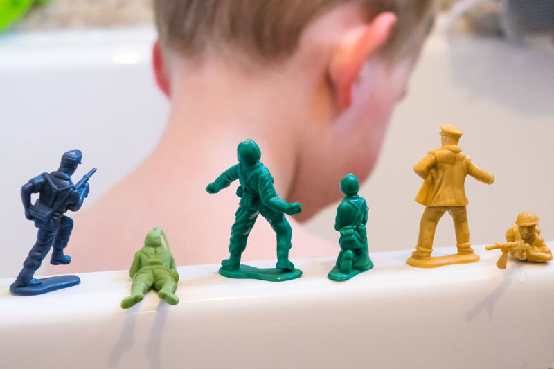 Army Bath Child Colour Image Day From Behind Hair HEAD Make Believe Models Plastic Playing Selective Focus Shadow Soldiers Toy Toy Soldiers Tub Visual Creativity