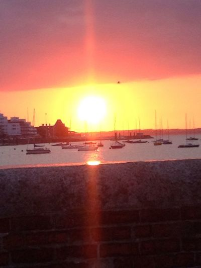 Sunset Beautiful Boats Sea And Sky