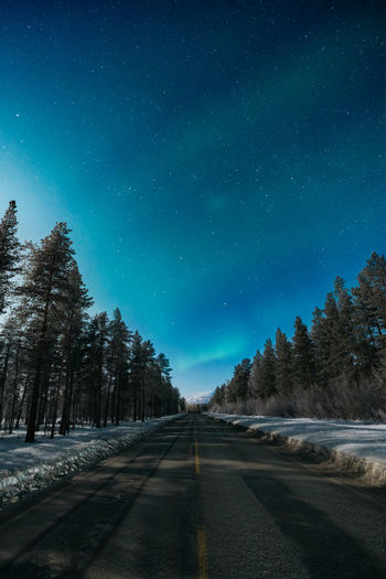Road Amidst Trees Against Clear Sky At Night