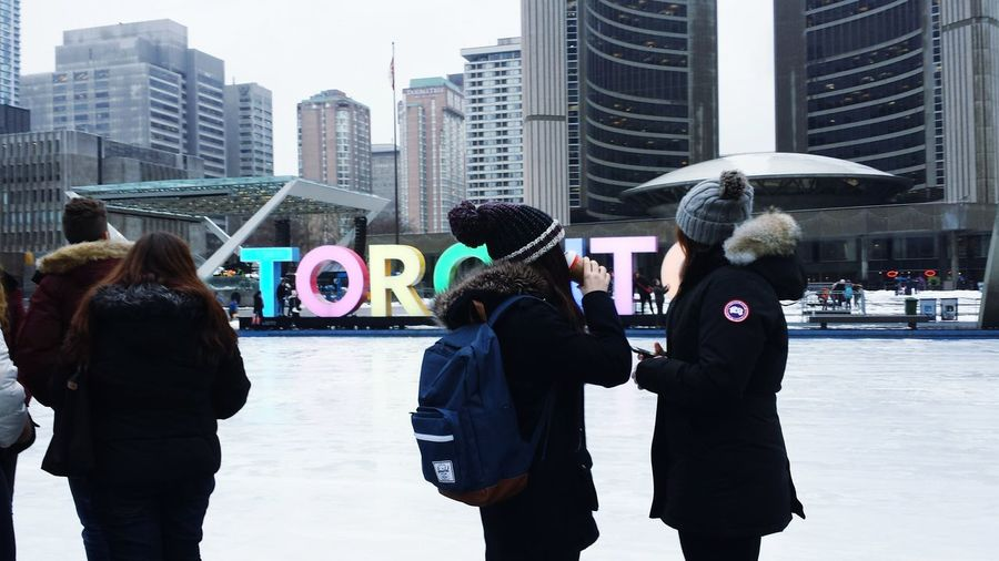 """""""The skating rink at Nathan Philips Square"""" It's Cold Outside EyeEm Best Shots Snow Day ❄ Winter Wonderland Wintertime Enjoying The View Different Perspective Travel Photography Toronto Downtown Toronto 3D Tourist Attraction  Enjoying Life"""