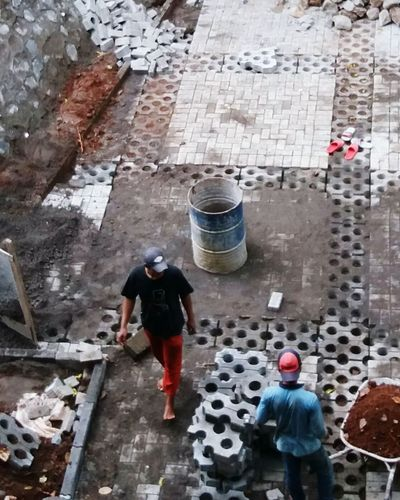 Real People Working Men High Angle View Occupation Outdoors Day Manual Worker Water Adult People