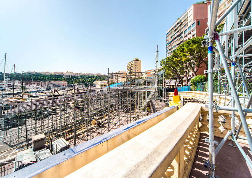 Preparation to Formula 1 Monaco Grand Prix City Construction Formula 1 Harbor Monaco Monaco Grand Prix Monte-Carlo Racing Transportation Audience Auto Building Exterior Built Structure Championship Competition Europe F1 Formula1 Monte Carlo Outdoors Principality Of Monaco Rally Rows Stands Tribune