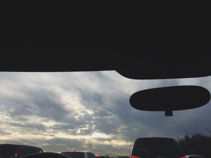 caught up in traffic jam