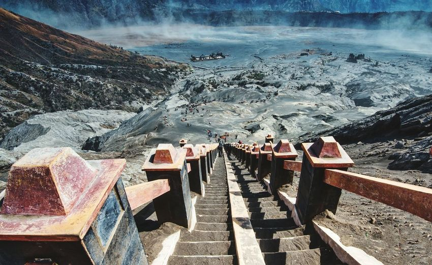 High Angle View Of Steps At Mount Bromo