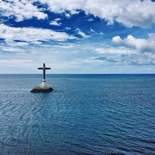 Sunken Cemetery IPhoneography Island Mindanao Itsmorefuninthephilippines Religion Nature Beauty In Nature Outdoors No People Scenics Cross Tranquility Blue Day first eyeem photo
