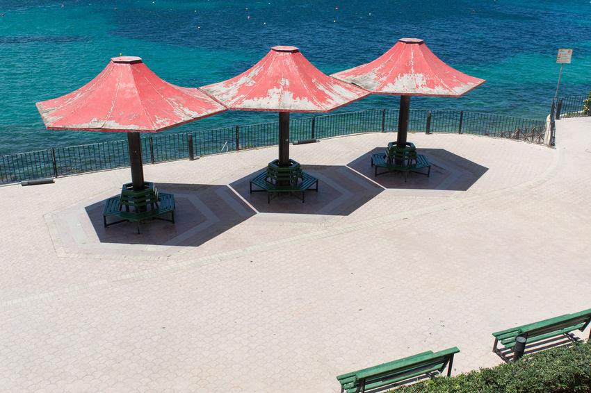 Architecture Colors Red Architecturelovers Beach Blue Colorful Europe No People Ombrella Ombrellas Red Color Sea Shadows Summer Water