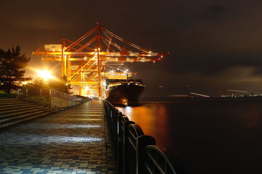 Sky & Sea (Tokyo Harbor & Narita Airport) Beauty In Ordinary Things Ora Et Labora Ship Tokyo Night Trails Transportation Illuminated Night Sky Mode Of Transport Water Built Structure No People Commercial Dock Harbor Nautical Vessel Sea
