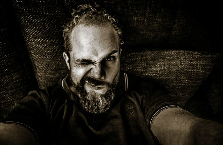 """First Selfie with my new D750. """"Hey bearded man, why so serious?"""" That's Me Self Portrait Sepia Bearded Selfie ✌ Selfies Blink Beard Couch Couching Relaxing Taking Pictures Experimenting... Blinking"""