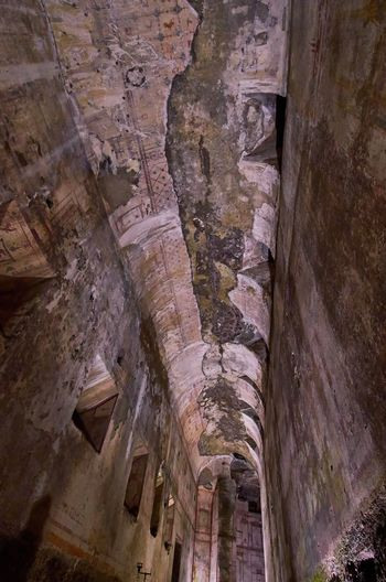 Nero's Domus Aurea, Rome Rome Italy Domus Aurea Golden House Ancient Architecture Ancient Architecture Ancient Civilization Ruin Ruins History Historic Historical Building Nero Roman Classical Antiquity Tunnel Palace Built Structure Low Angle View Weathered Crumbling Ceiling Lookingup