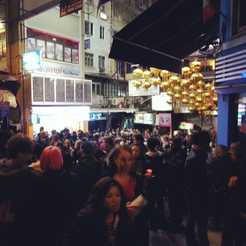 crazy night in Lan Kwai Fong, and it's just looks like a noisy boisterous parade lol HongKong Lan Kwai Fong Party Time
