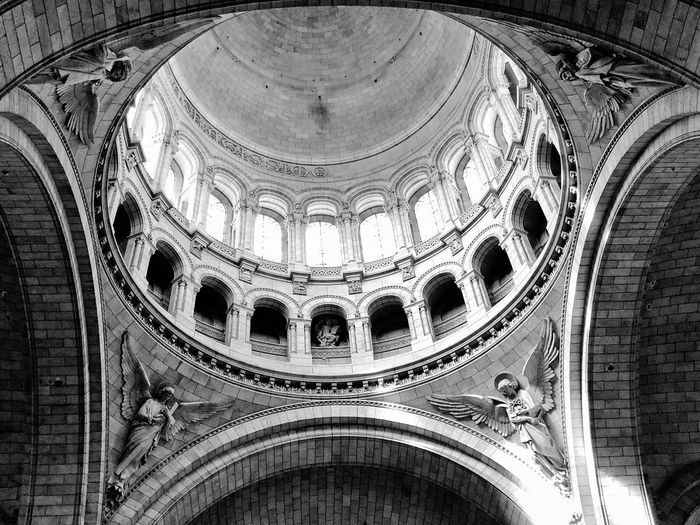 Low angle view of interior ceiling in church
