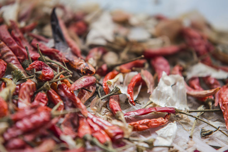 Extreme close up of dried red chillies