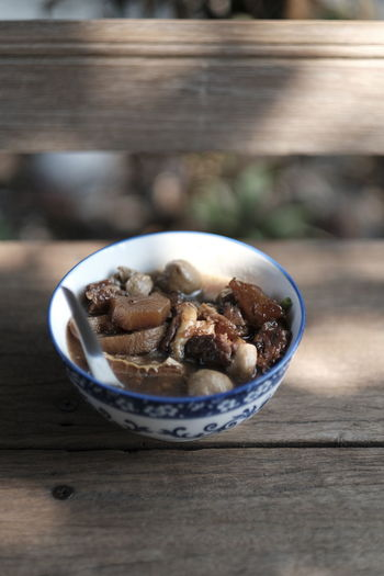 Close-up of dessert in bowl on table