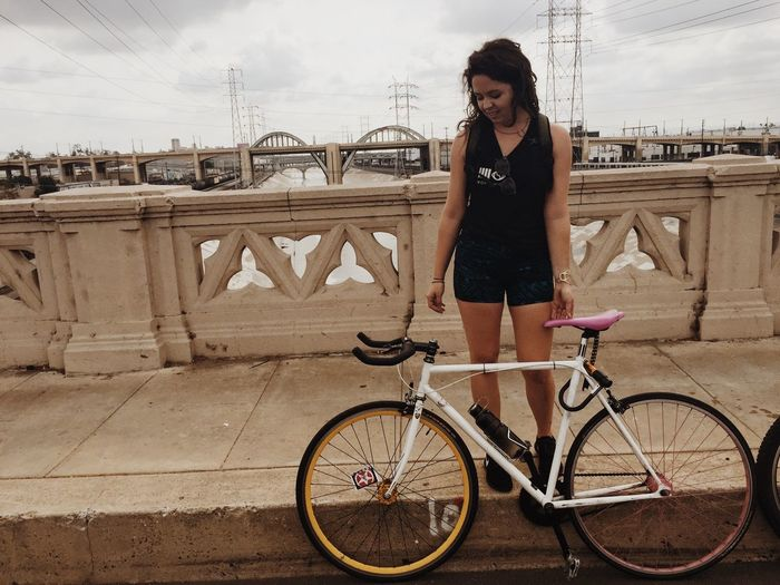 Bicycle Casual Clothing CicLAVia Fixie Fixie/fixed Gear Full Length Hipstergirl Leisure Activity Lifestyles Los Ángeles Real People Standing Transportation Women