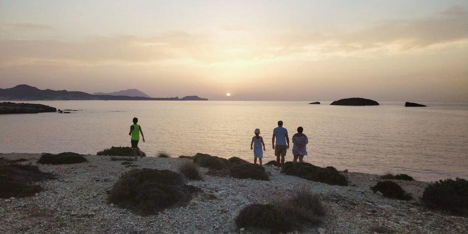 OnePlus 5t 3XSPUnity Greece île De Milos Water Sea Full Length Sunset Beach Sand Togetherness Relaxation Men Boys Romantic Sky Silhouette Seascape Salt Basin Horizon Over Water Tide