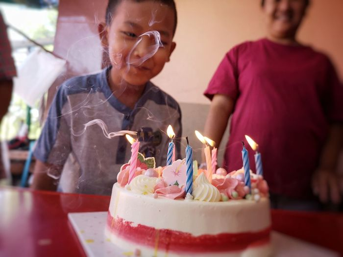 Asianboy Party - Social Event Birthday Cake Life Events Birthday Togetherness Happiness Flame Men Birthday Candles Celebration Single Parent