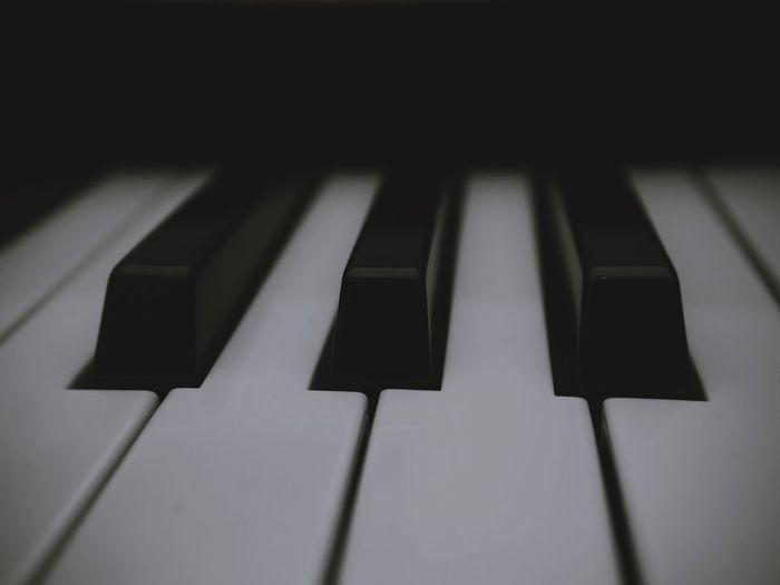 Musical Instrument Music Musical Equipment Piano Piano Key Arts Culture And Entertainment Black Color Close-up No People Indoors  White Color Keyboard Instrument Keyboard Full Frame Backgrounds High Angle View Pattern Shadow Selective Focus Extreme Close-up