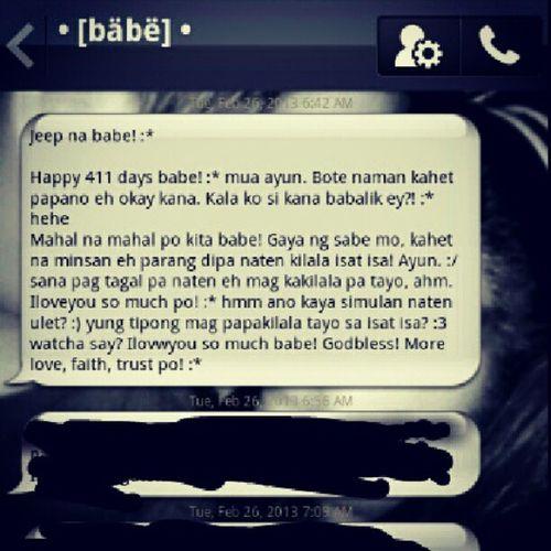 yung pag gising ko gantong msg ang mababasa ko galing sa kanya, SWEET MORNING :)) Message 411Days Him @papasep