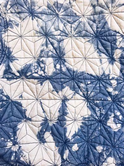 Aizome (藍染め), indigo dye with Asanoha (麻の葉), hemp leaf motif over denim. Pattern Backgrounds Full Frame Close-up Fabrics Textile Fashion Inspiration Style Fashion Indigo Denim Textures And Surfaces Textured  Blue Technics Dying Technics Hemp Leaf Motif