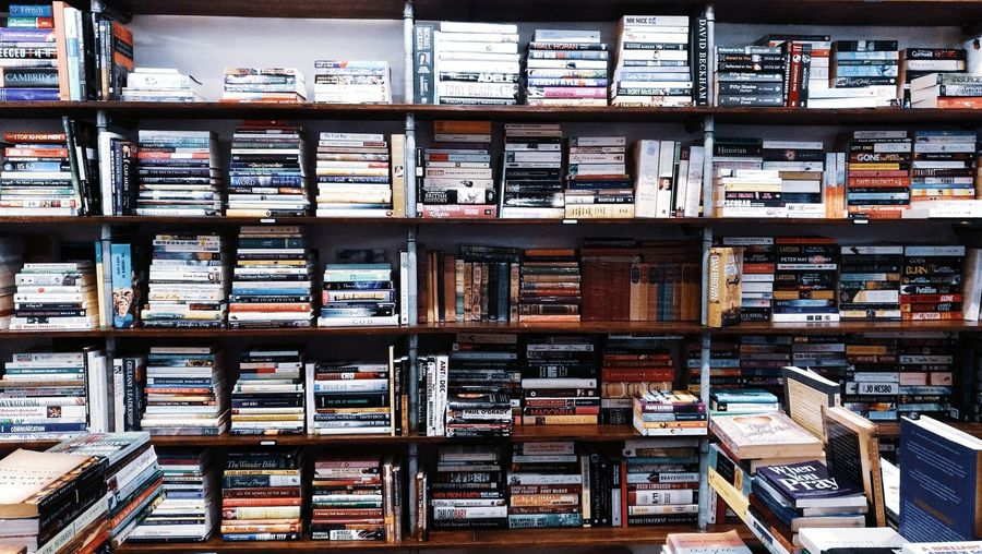 Happy place. ❤ Books ♥ Bookshelf Library Shelf Filing Cabinet Full Frame Backgrounds Communication Architecture Shelves
