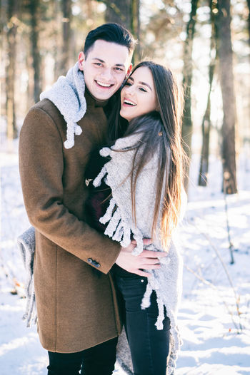 Affectionate Beauty In Nature Cheerful Cold Temperature Couple - Relationship Dating Embracing Flirting Happiness Love Men Nature Portrait Romance Smiling Sunlight Togetherness Two People Warm Clothing Winter Women Young Adult Young Couple Young Women