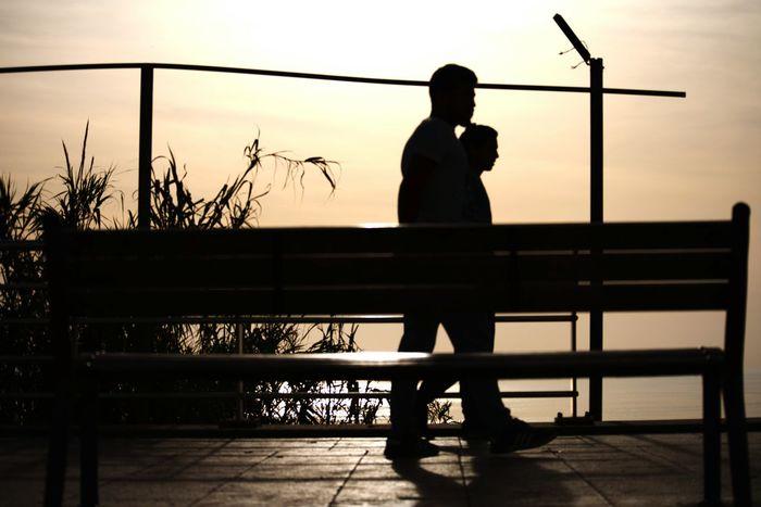 against light. contre jour. Silouette Photography Reflection Beirut Rawshe Street Mere People Lebanon Nikon EyeEmNewHere Water Silhouette Standing Full Length Men Sky
