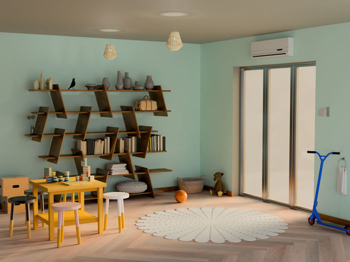 Kid room interior 3D Absence Arrangement Business Ceiling Chair Domestic Room Electric Lamp Empty Furniture Home Home Interior Home Showcase Interior Indoors  Lighting Equipment Luxury Modern No People Seat Still Life Table Wall - Building Feature
