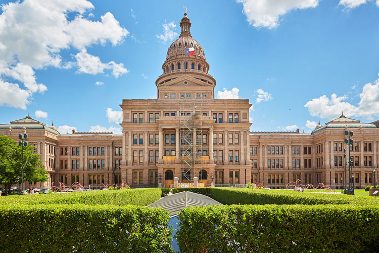 Texas State Capital Building Austin State Capitol Building Texas Architecture Building Building Exterior Built Structure Cloud - Sky Day Dome Façade Garden Government Grass Hedge History Nature No People Sky The Past Travel Travel Destinations