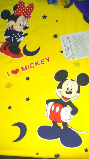 A bed sheet of Mickey Mouse. Disney Mickey Mouse :) Mickey And Minnie Mouse Cartoon Mickey Mouse Minie Mouse First Eyeem Photo