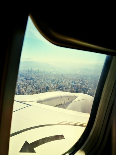 Airplane Mode Of Transport Transportation Window Air Vehicle Flying Travel Aircraft Wing Aerial View Blue Landscape Arriving Lebanon