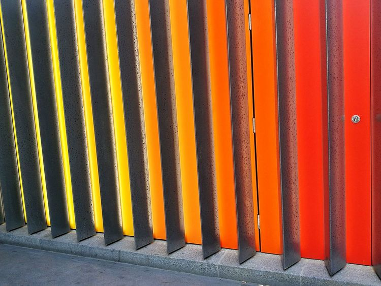 Orange Color In A Row Backgrounds Pattern Yellow Textured  Built Structure Architecture Building Exterior Multi Colored No People Hidden Door London Liverpool Street Liverpool St The Architect - 2017 EyeEm Awards