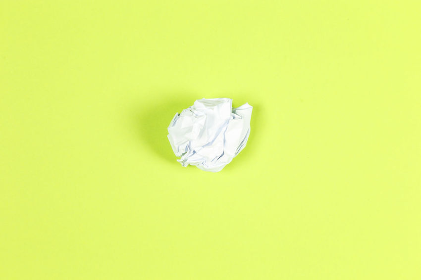 Crumpled Paper Crumpled Copy Space Paper Studio Shot Colored Background Indoors  No People Garbage Green Background Green Color Single Object Crumpled Paper Ball White Color Cut Out Food And Drink Still Life Yellow Close-up Full Frame