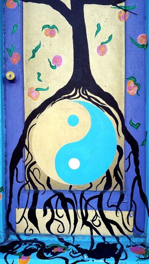 Door Doorway Doorframe Ottawa Chinatown Chinatown Beauty Creativity Yingyang Blue Multi Colored Close-up Street Art Art And Craft Craft Painted Image ArtWork Painted Modern Art Art Paint Watercolor Painting